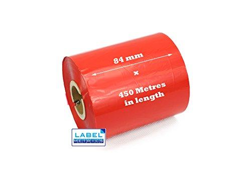 Label Metrics - 12 rouges 84 mm x 450 mètres Rubans de qualité cire pour imprimantes de transfert thermique.