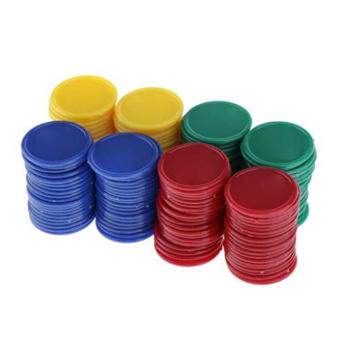 Contador de Plástico,Fichas de Bingo 200 Pack Bingo Chips Contador de Póker para Juegos Recursos de Aprendizaje 4 Colores 3.8cm