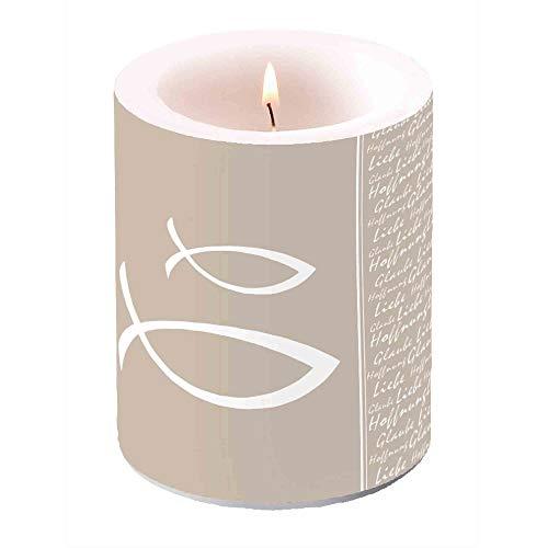 Ambiente Kerze Glaube Liebe Hoffnung 120×100mm Fisch Tischkerze Kommunion Konfirmation Taufe, Farbe:Taupe