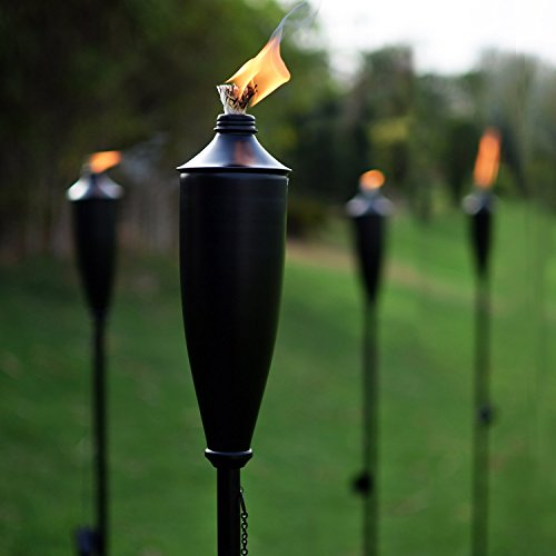 Deco Home Set of 4 Tikki Backyard Torch - 60 inch Citronella Garden Outdoor/Patio Flame Metal Torch - Black Matt