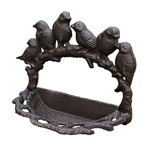 BAODI Comedero para Pájaros Pájaros rústicos Ramificación de Hierro Fundido Alimentador de pájaros Antiguo Pequeño Pájaros Retro en Rama de árbol Nido Forma Montado en Pared Bandeja de Almacen