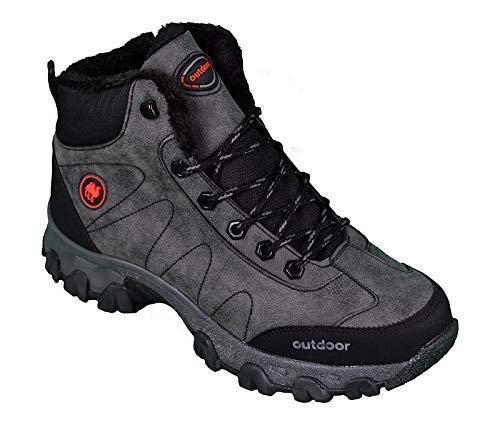 Jagulep Chaussures de randonnée pour homme antidérapantes avec grip et semelle thermique, chaussures d'hiver doublées et imperméables - Gris - gris/noir, 42 EU