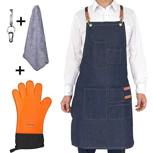 Megawodar Grilling Apron Set Include 1 BBQ Glove,1 Bottle Opener,1 Towel and 1 Demin Apron for Chef Kitchen BBQ Grill