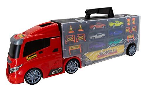 Idena 40125 - Spiel Truck mit integriertem Auto Koffer, inklusive 6 Spielzeugautos und 10 Verkehrszeichen, für Kinder ab 6 Jahren, ca. 50 x 9 x 15 cm