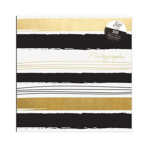 Tallon Álbum de fotos de 15,2 x 10,1 cm, diseño de rayas, color negro y dorado