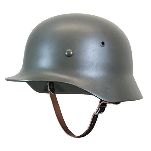 Reproduktion Stahlhelm aus 2. Weltkrieg M35 mit Ledereinsatz und Kinnriemen Gr. Large (58/59 cm), Feldgrau