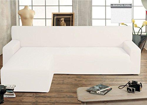 BIANCHERIAWEB Copridivano Genius con Penisola Chaise Longue Modello Swing Colore Bianco Sinistra Bianco