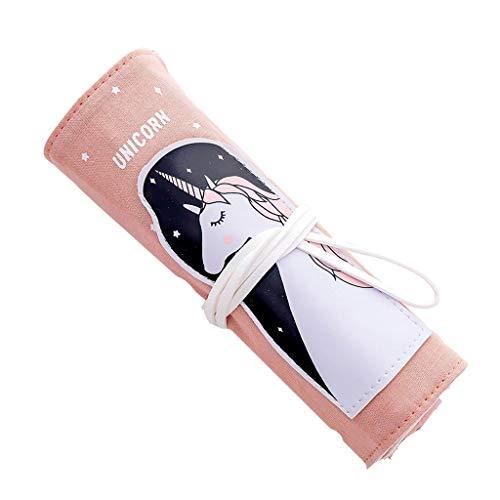 ZT Pencil Case Materiaal Rolgordijn Bag Canvas Large Capacity Pencil Case briefpapier Box Pencil Bag Portable Veiligheid Multifunctioneel (Color : Pink)