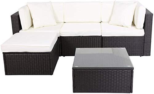 GOJOOASIS Polyrattan Lounge Sitzgruppe Gartenmöbel Garnitur Poly Rattan Couch-Set in Braun-schwarz mit Bezügen in Creme (200 cm Länge)