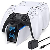 OIVO PS5 Dual Controller Charger Docking Station Compatible with Playstation 5 PS5 DualSense Controller, Fast Charging Dock Station with LED Indicators- Fast Charging 5V/3A Adapter Included from OIVO