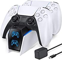 OIVO PS5 Oplaadstation, 2-uur Snelle Opladen Dualsense Charging Station voor Playstation 5 en LED Strap, PS5 Controller...
