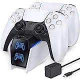 OIVO PS5 Controller Ladestation, PS5 Ladestation 2 Std Schnelllade mit Netzteil für Playstation 5 Ladestation, PS5 Ladestation Controller für Sony Playstation 5 Wireless Controller, Weiß