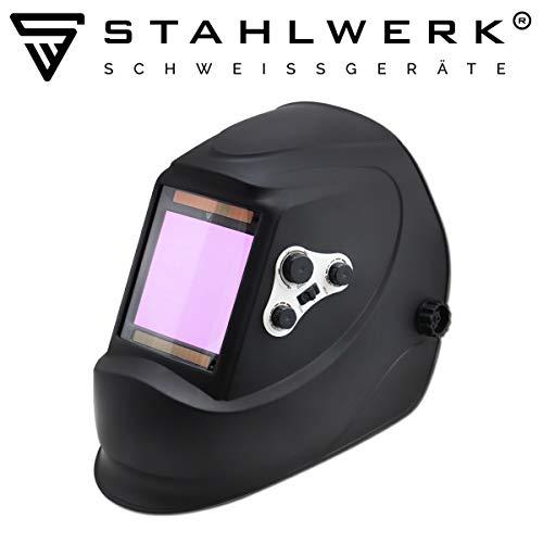 STAHLWERK ST-900X Vollautomatik Schweißhelm, großes Sichtfeld, inkl. 5 Ersatzscheiben & Aufbewahrungstasche, schwarz, 7 Jahre GARANTIE auf FILTER