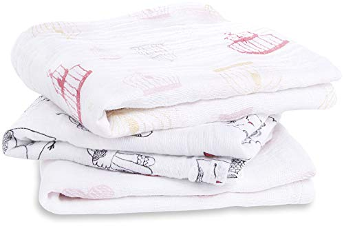 Aden + Anais 7224g musy-langes lovebird, 100% mousseline de coton, 70cm x 70cm, pack de 3