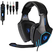 SADES SA819 Gaming Headset, 3.5mm Surround Stereo Wired Gaming Headset, Over Ear Headphones with Mic Revolution Volume Control, Noise Canceling for PC, MAC, PS4, Xbox ONE, Nintendo Switch