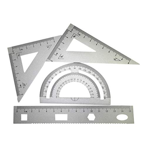 Milisten - Set di 4 strumenti per la geometria, righello in lega di alluminio in metallo leggero, include righello dritto, righello triangolare, goniometro per scuola, architetti, ingegneri