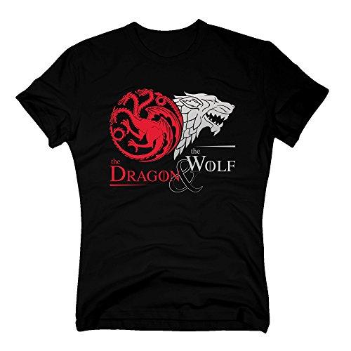 Game of Thrones - The Dragon & The Wolf - Targaryen & Stark - GoT Herren T-Shirt - von Shirt Department, schwarz-Silber, XL