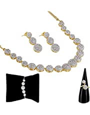 Zeneme American Diamond Traditional Fashion Jewellerry Combo of Necklace Pendant Set/Ring/Bracelet with Earring for Women & Girls
