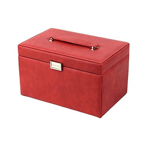 Almacenamiento de joyas Oganizer Caja de joyería de cuero de gran capacidad portátil, caja de almacenamiento de joyería europea de múltiples capas para anillos Pendientes Collar Pulseras Para niñas y