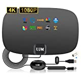 TV Antenna, UJM Antenna TV Digital HD Indoor up to 120+ Miles Range, 2021 Newest HD Antenna for TV Indoor with Amplifier Signal Booster Support 4K HD VHF UHF Freeview for Life Local Channels