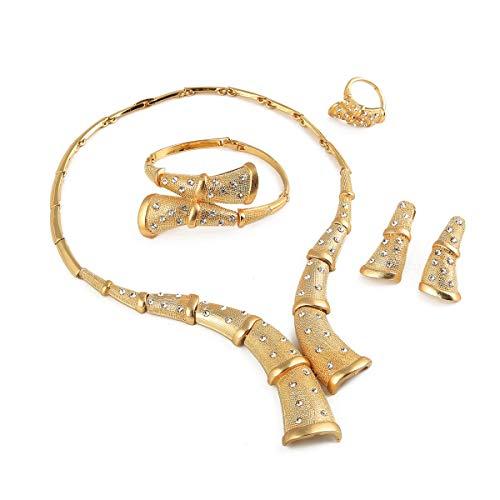 Dubai 18 Karat vergoldete Kristalle, für Hochzeit, Party, Halskette, Ohrringe, Armband, Ring, trendiges Schmuck-Set