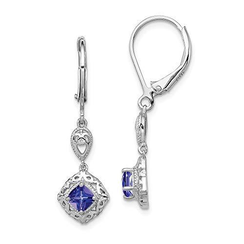 925 Sterling Silver Blue Tanzanite Lever Back Leverback Earrings Drop Dangle Fine Jewellery For Women Gifts For Her