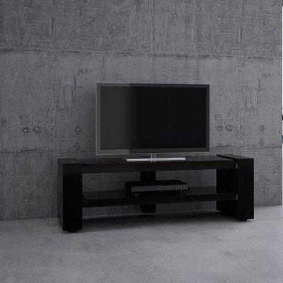Schnepel 00201SS0 TV-Möbel X-Linie 1200 offen, Kabelkanal mit integrierter Steckdosenleiste, Versteckten Rollen Hochglanz-schwarz