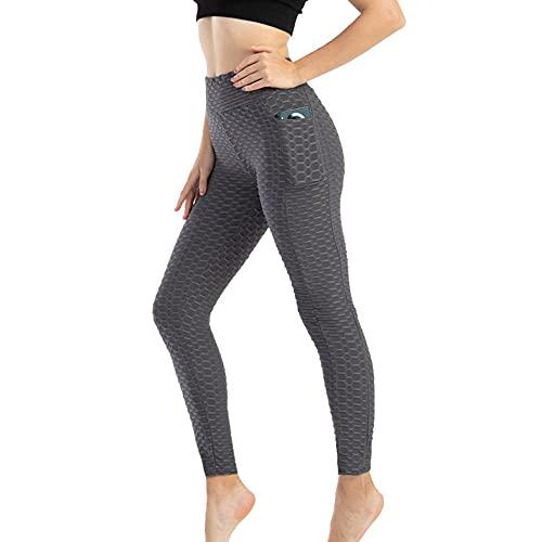 XUNHOU Leggings de Yoga Ultra Suaves y cómodos,Pantalones de Yoga para Correr de Gran tamaño,Leggings con Bolsillos Laterales-Gris_XXL,Leggings de Deportivos Gym únicos