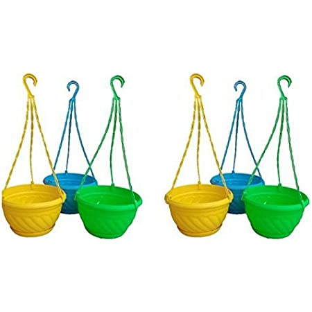 Dhavesai Plastic Hanging Pot, Multicolour, 6 inch, 6 Pieces