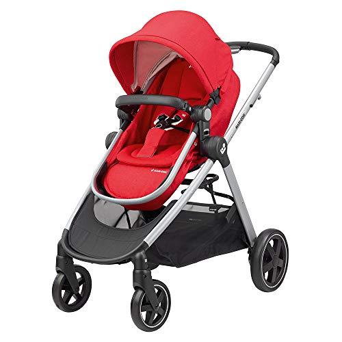 Maxi-Cosi ZELIA Baby Kinderwagen Leichter Urban Kinderwagen ab Geburt Reisesystem mit Stubenwagen 0 Monate - 3.5 Jahre 0-15 kg Nomad Rot