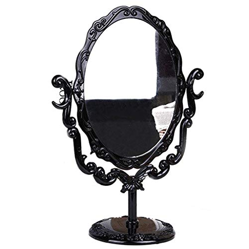 LYMUP Espejo 360 giratorio espejo europeo retro ovalado HD vanidad espejo desmontable princesa espejo traje para niñas maquillaje espejo agrandar