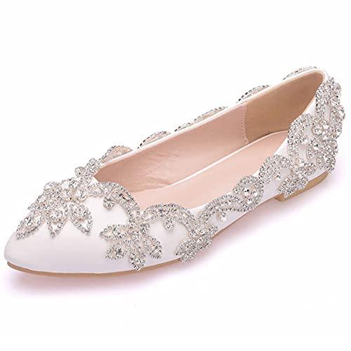 ZDERET Tacones Planos Zapatos De Novia Mujer Flor De Cristal Zapatos De...