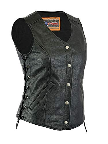 Women's Motorcycle Riding Stylish Longer Body 3/4 Leather Vest (M)