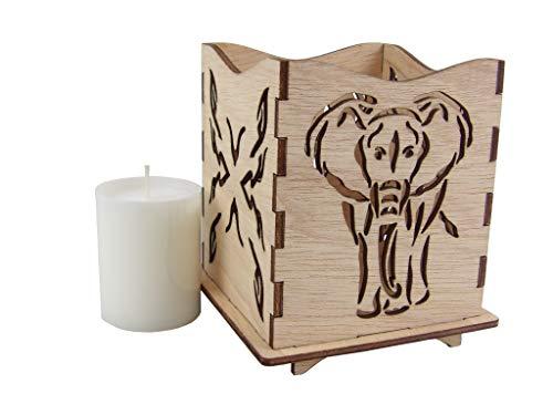 Kreativknoten Windlicht/Stimmungsleuchte Elefant und Schnittmuster im Afrika-Stil mit Kerze (Caipa)
