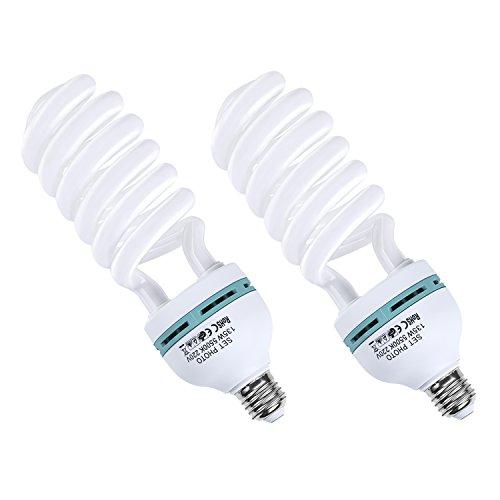 Amzdeal Ampoule photo LED 135W avec 2 pièces 220v , Ampoule en spirale E27 à economiser l'energie, Lampe Studio 5500K Lumière du jour pour Softbox Vidéo Photographie