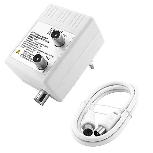 Antennen-Verstärker 75Ohm - 2 Koax Stecker männlich auf 1 Koax Buchse Kupplung weiblich mit 1,5 Meter Antennen-Kabel - geeignet für 3D SD HD FullHD UHD 4K, Weiss