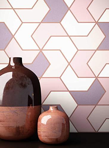 NEWROOM Tapete grafisch Pink Geometrisch grafisch Papiertapete Papier Grafiktapete modern inkl. Tapezier Ratgeber ǀ Grafik
