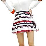 minjiSF Falda plisada para mujer, elegante, línea A, cintura alta, estampado a rayas, delgada, bonita, bonita y bonita Vino M