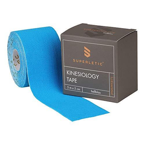 SUPERLETIC Kinesiologie Tape Essential [5m x 5cm] Kinesiology Tape - wasserfest / elastisch – Physio Tape / Sport Tape (blau) (Einzelpackung)