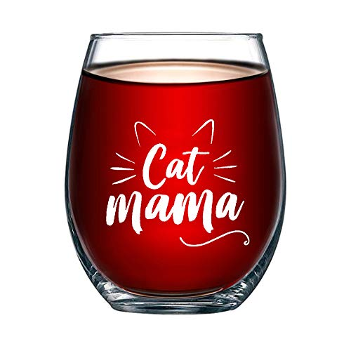 Lustige Katze Weinglas 14oz Stemless Crystal Weinglas Katze Mama Becher Geschenk für Katzenliebhaber Frauen Katzenfrau Freundin, Ehefrau (Mamá gato)