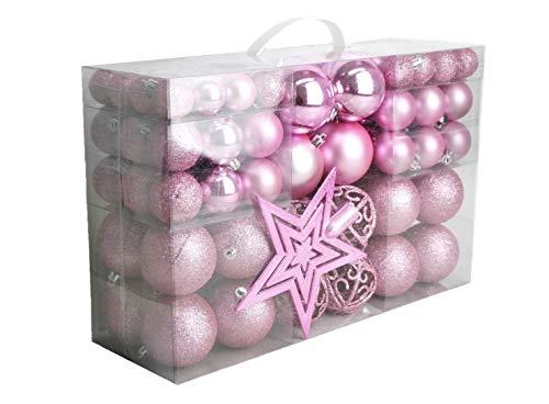 Geschenkestadl 100 palline di Natale con punta per albero, Colore: rosa., Diametro: 3/6/4 cm