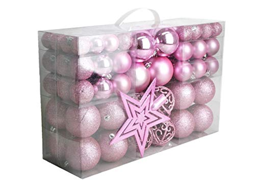 Geschenkestadl 1725S 100 Weihnachtskugeln und Baumspitze Stern (Rosa)
