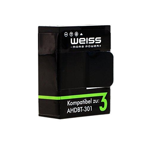 WEISS Akku für GoPro Hero 3 / GoPro Hero 3+ Black / White / Silver 1180mAh Hero3+ / Hero3 [ersetzt: AHDBT-302 / AHDBT-301 /AHDBT-201] Li-Polymer