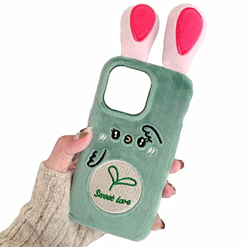 Miagon Plüsch Hülle für iPhone 13 Pro Max,Hase Ohr Handyhülle Mädchen Flauschige Schutzhülle Silikon Cover Faux Pelz Case,Karotte Hase Grün Rot
