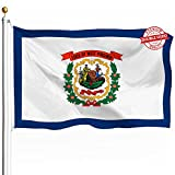 DFLIVE Double Sided West Virginia State Flag 3x5ft Heavy Duty 3 Ply Polyester WV State Flags Indoor and Outdoor Use