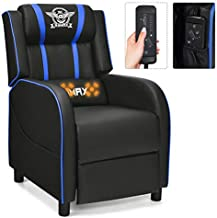 GYMAX Massage Gaming Recliner Chair, Adjustable Racing Style Single Lounge Sofa with Footrest and Massage Function Modern Living Room Recliner PU Leather Home Theater Seating (Blue)