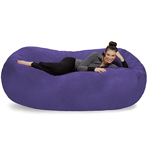 Sofa Sack - Plush Bean Bag Sofas with Super Soft Microsuede Cover - XL Memory Foam Stuffed Lounger Chairs for Kids, Adults, Couples - Jumbo Bean Bag Chair Furniture - Purple 7.5'