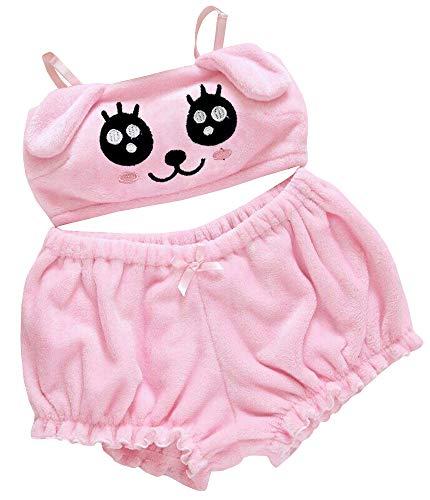 BZB Kawaii Anime Cute Pajamas Set for Women Sweet Lovely Velvet Tube Top and Shorts Sleepwear Suits