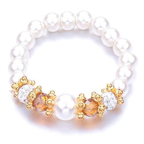 Pulseras Brazalete Joyería Mujer Bead Pearl Bracelets Bangles Pulsera De Cuentas Crystal Beads Jewelry Gift-Antique_Silver_Plated