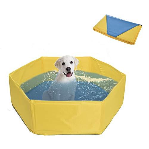 lembrd kinderbadje hondenzwembad voor honden - opvouwbaar huisdierbad zwembad voor honden & katten - PVC & sponsmateriaal - 80x30cm, geel